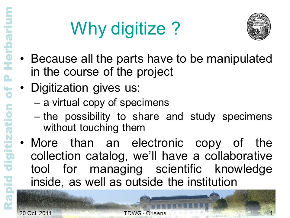 Rapid digitization of P Herbarium Why digitize ? Because all the parts have to be manipulated in the course of the project Digitization gives us: –a v