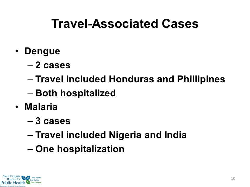 Travel-Associated Cases Dengue –2 cases –Travel included Honduras and Phillipines –Both hospitalized Malaria –3 cases –Travel included Nigeria and India –One hospitalization 10