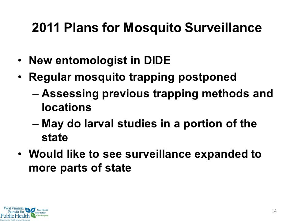 2011 Plans for Mosquito Surveillance New entomologist in DIDE Regular mosquito trapping postponed –Assessing previous trapping methods and locations –May do larval studies in a portion of the state Would like to see surveillance expanded to more parts of state 14