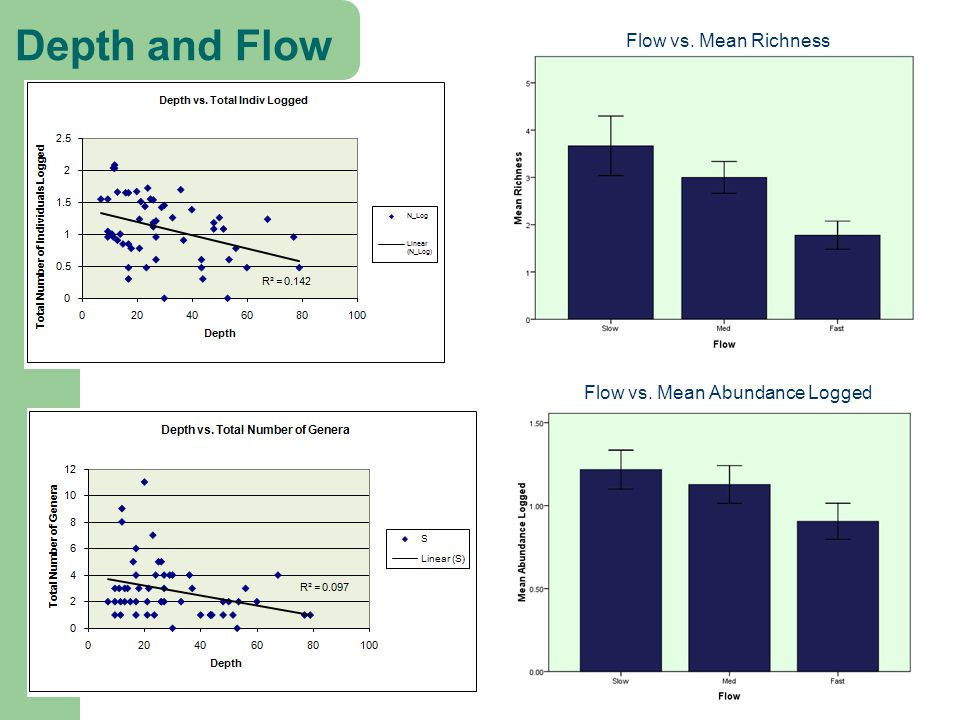 Depth and Flow Flow vs. Mean Richness Flow vs. Mean Abundance Logged