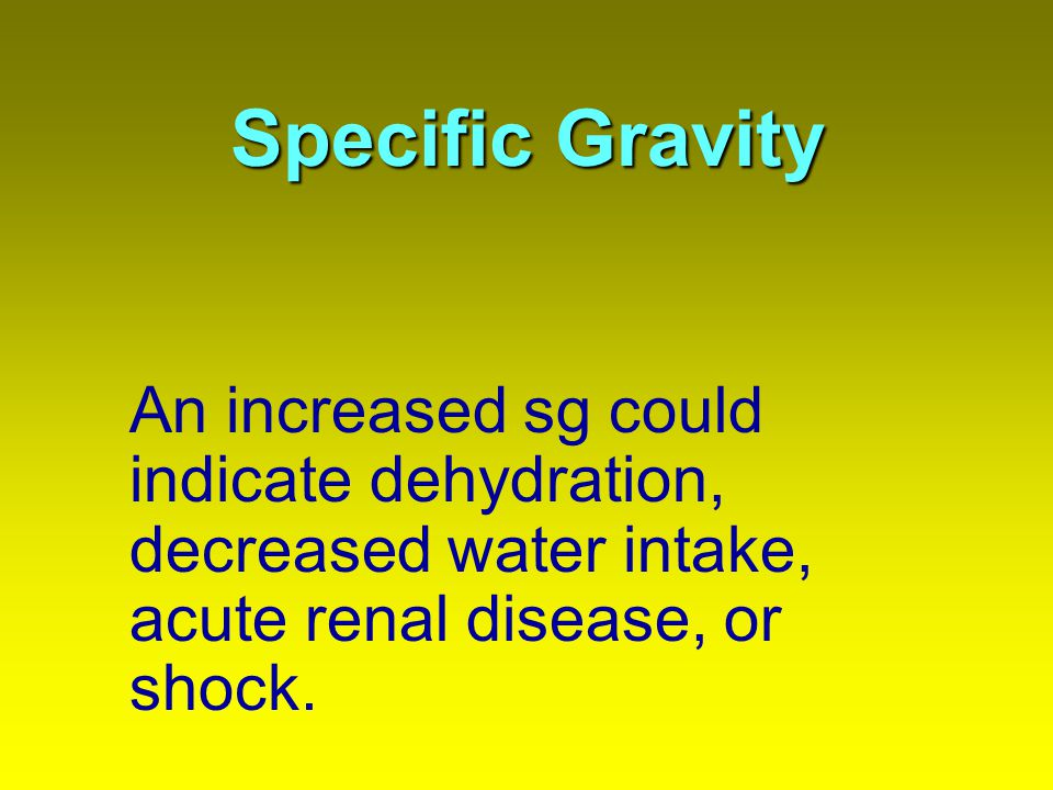 Specific Gravity An increased sg could indicate dehydration, decreased water intake, acute renal disease, or shock.