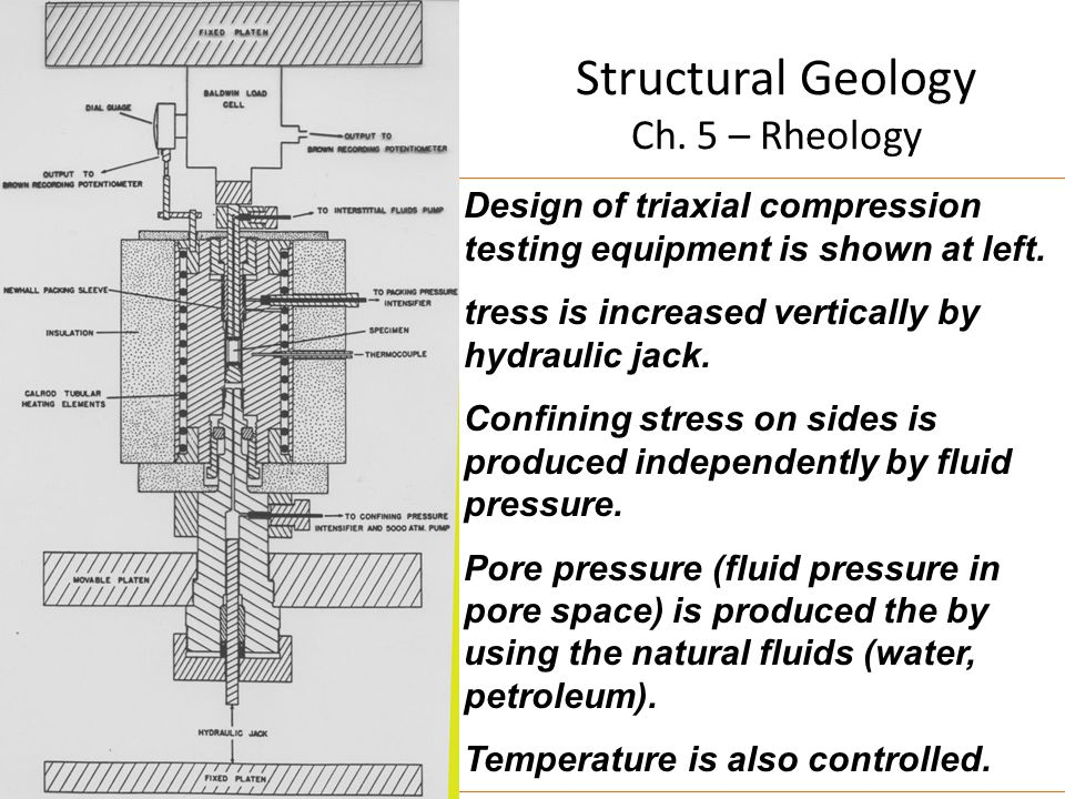 Structural Geology Ch. 5 – Rheology Design of triaxial compression testing equipment is shown at left. tress is increased vertically by hydraulic jack