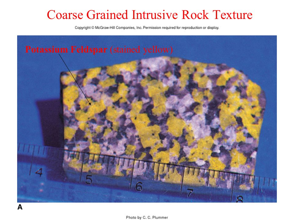 Coarse Grained Intrusive Rock Texture Potassium Feldspar (stained yellow)