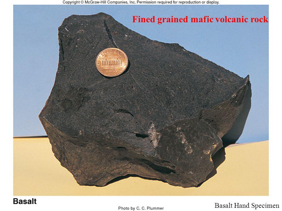 Basalt Hand Specimen Fined grained mafic volcanic rock