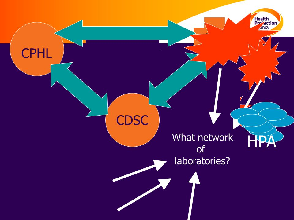 19 HQ Network of 46 PHLs in 8 Groups CPHL CDSC What network of laboratories? HPA