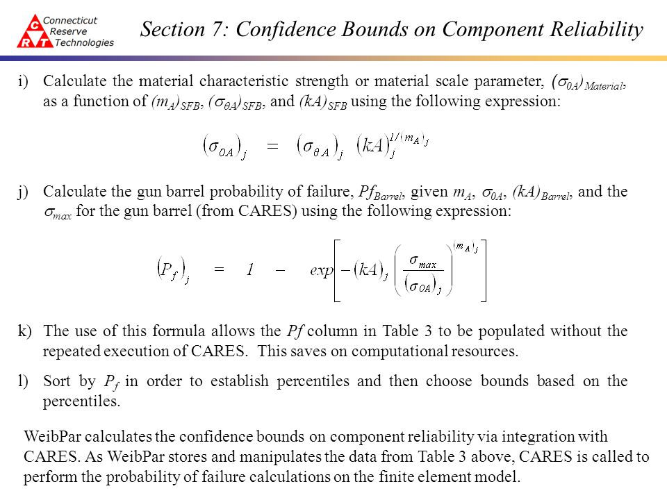 Section 7: Confidence Bounds on Component Reliability The following figures depict the results of the bootstrapping procedure outlined above.