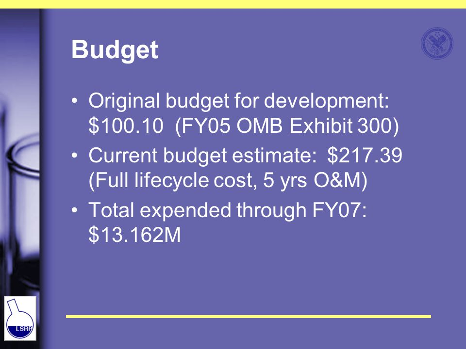 Budget Original budget for development: $100.10 (FY05 OMB Exhibit 300) Current budget estimate: $217.39 (Full lifecycle cost, 5 yrs O&M) Total expended through FY07: $13.162M