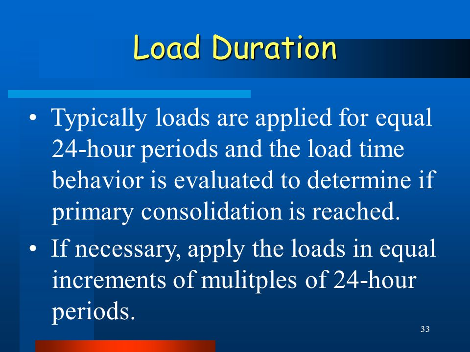 33 Load Duration Typically loads are applied for equal 24-hour periods and the load time behavior is evaluated to determine if primary consolidation is reached.