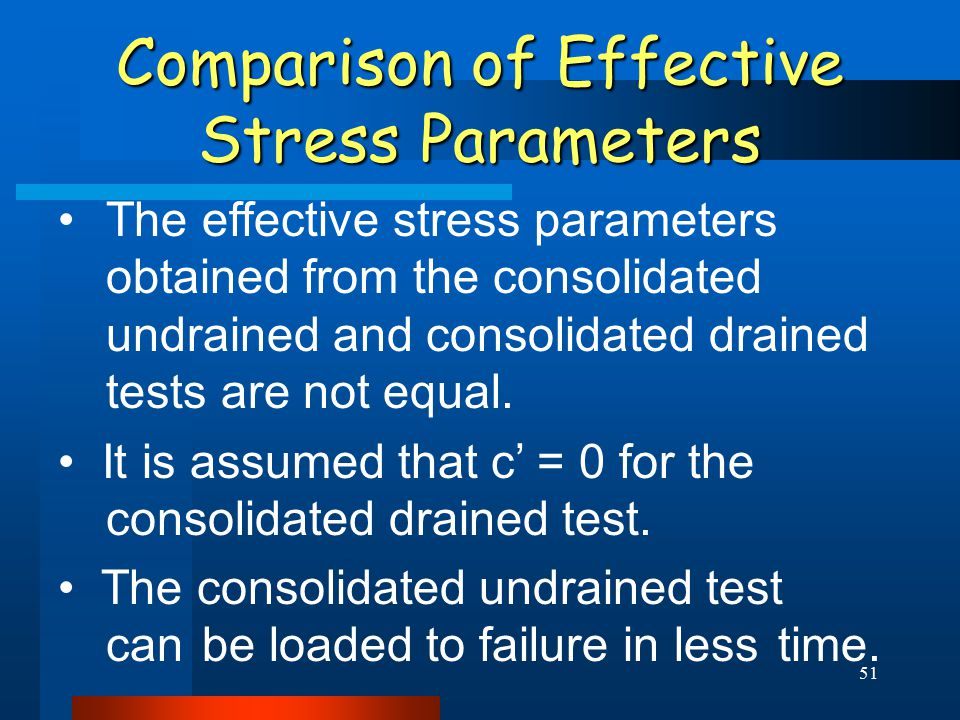 51 Comparison of Effective Stress Parameters The effective stress parameters obtained from the consolidated undrained and consolidated drained tests are not equal.