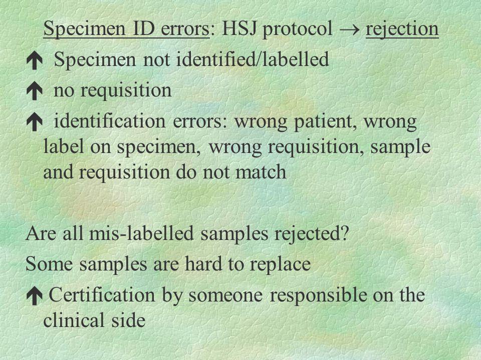 Specimen ID errors: HSJ protocol  rejection é Specimen not identified/labelled é no requisition é identification errors: wrong patient, wrong label o