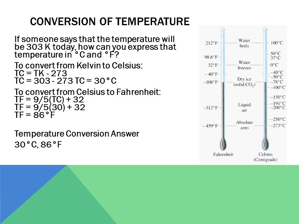 CONVERSION OF TEMPERATURE If someone says that the temperature will be 303 K today, how can you express that temperature in °C and °F? To convert from