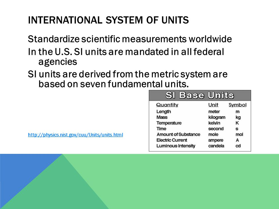 INTERNATIONAL SYSTEM OF UNITS Standardize scientific measurements worldwide In the U.S. SI units are mandated in all federal agencies SI units are der