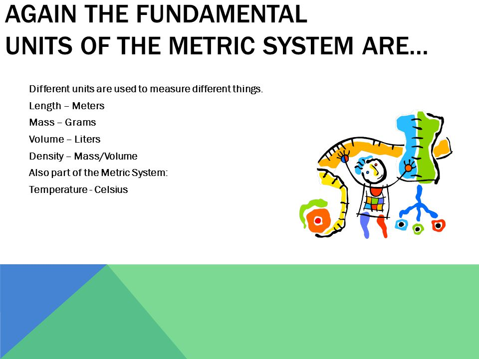 AGAIN THE FUNDAMENTAL UNITS OF THE METRIC SYSTEM ARE… Different units are used to measure different things. Length – Meters Mass – Grams Volume – Lite