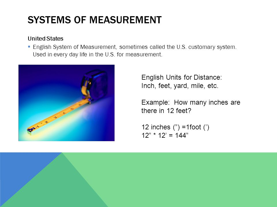 SYSTEMS OF MEASUREMENT United States  English System of Measurement, sometimes called the U.S.