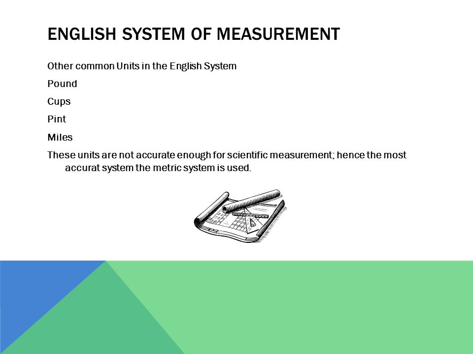 ENGLISH SYSTEM OF MEASUREMENT Other common Units in the English System Pound Cups Pint Miles These units are not accurate enough for scientific measur