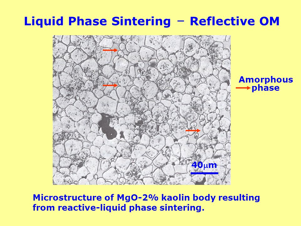 Liquid Phase Sintering – Reflective OM Microstructure of MgO-2% kaolin body resulting from reactive-liquid phase sintering. Amorphous phase 40m