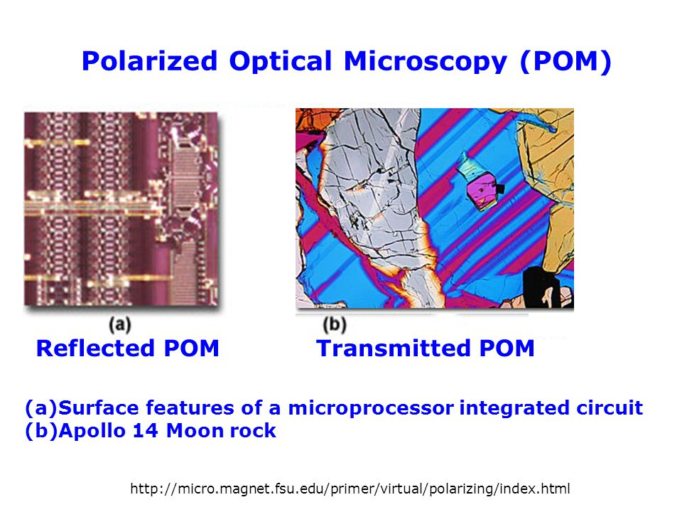 Polarized Optical Microscopy (POM) (a)Surface features of a microprocessor integrated circuit (b)Apollo 14 Moon rock Reflected POM Transmitted POM htt