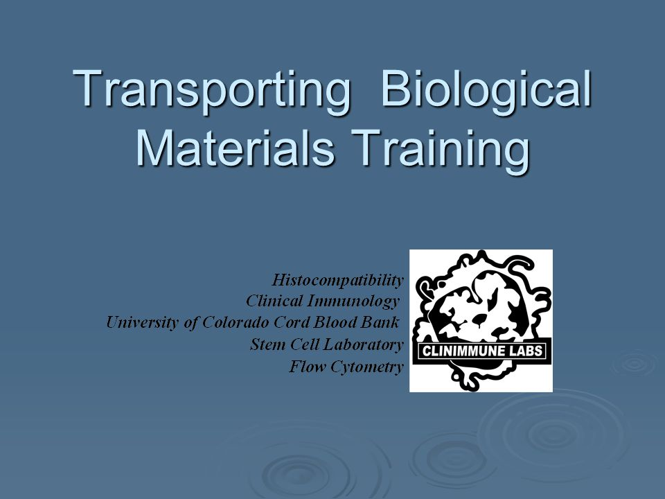 Transporting Biological Materials Training