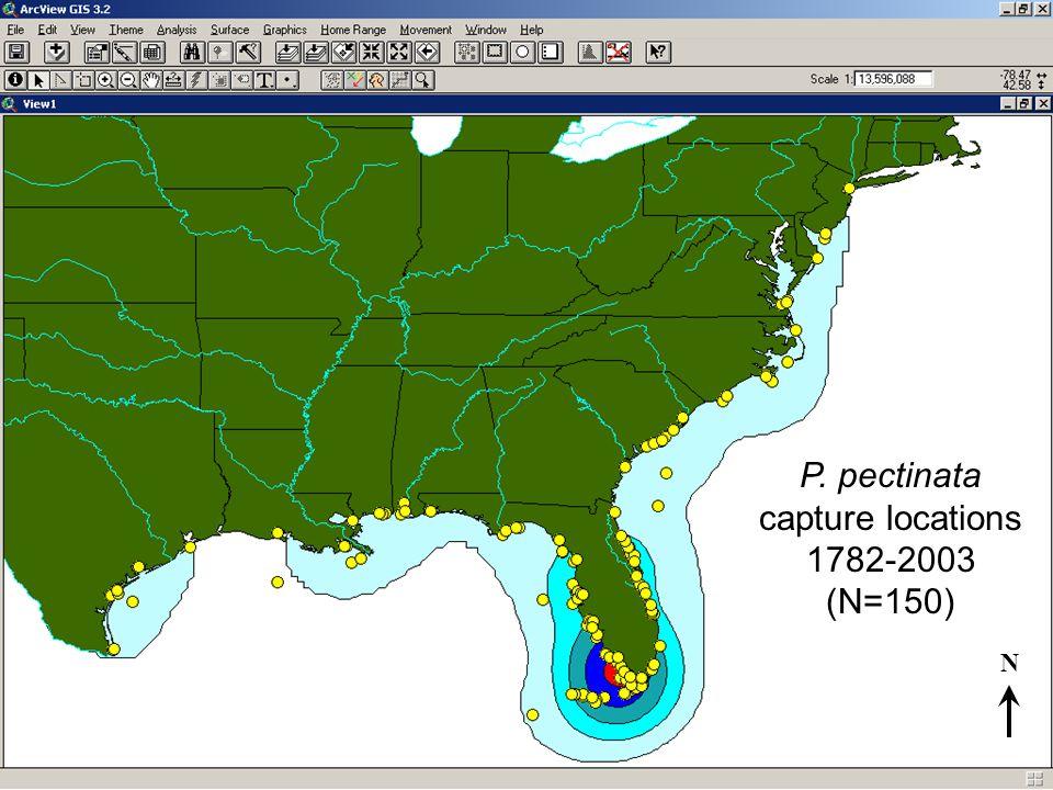 P. pectinata capture locations 1782-2003 (N=150) N