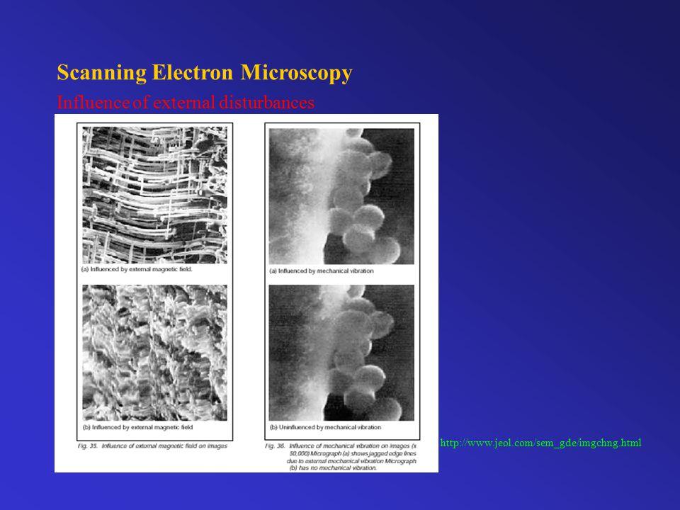 Scanning Electron Microscopy Influence of external disturbances http://www.jeol.com/sem_gde/imgchng.html