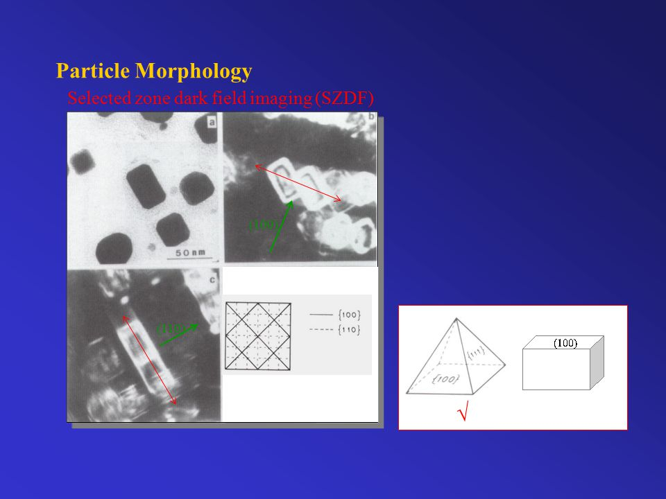 Particle Morphology Selected zone dark field imaging (SZDF)  (100) (110)