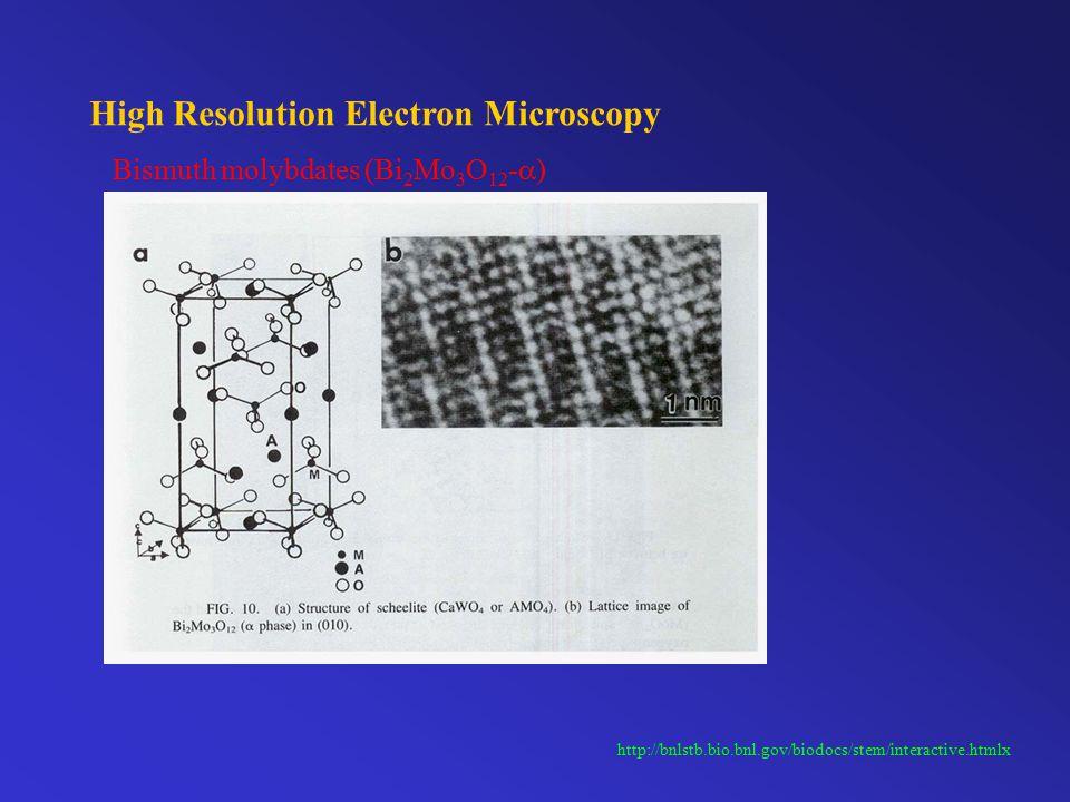 High Resolution Electron Microscopy http://bnlstb.bio.bnl.gov/biodocs/stem/interactive.htmlx Bismuth molybdates (Bi 2 Mo 3 O 12 -  )