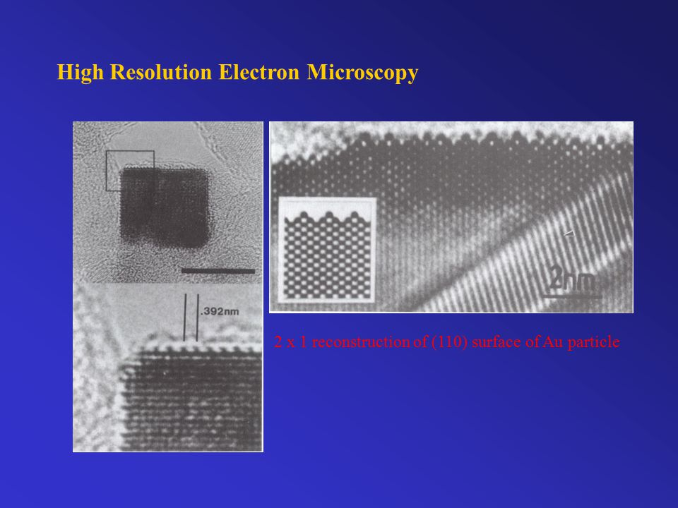 High Resolution Electron Microscopy 2 x 1 reconstruction of (110) surface of Au particle