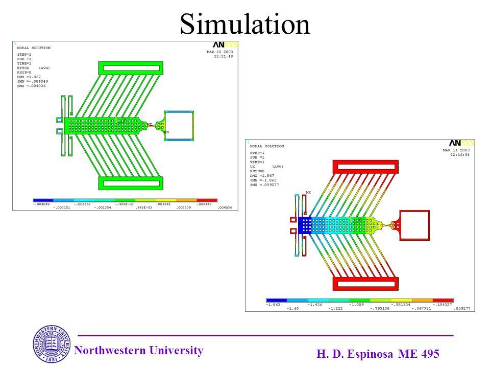 Northwestern University H. D. Espinosa ME 495 Simulation