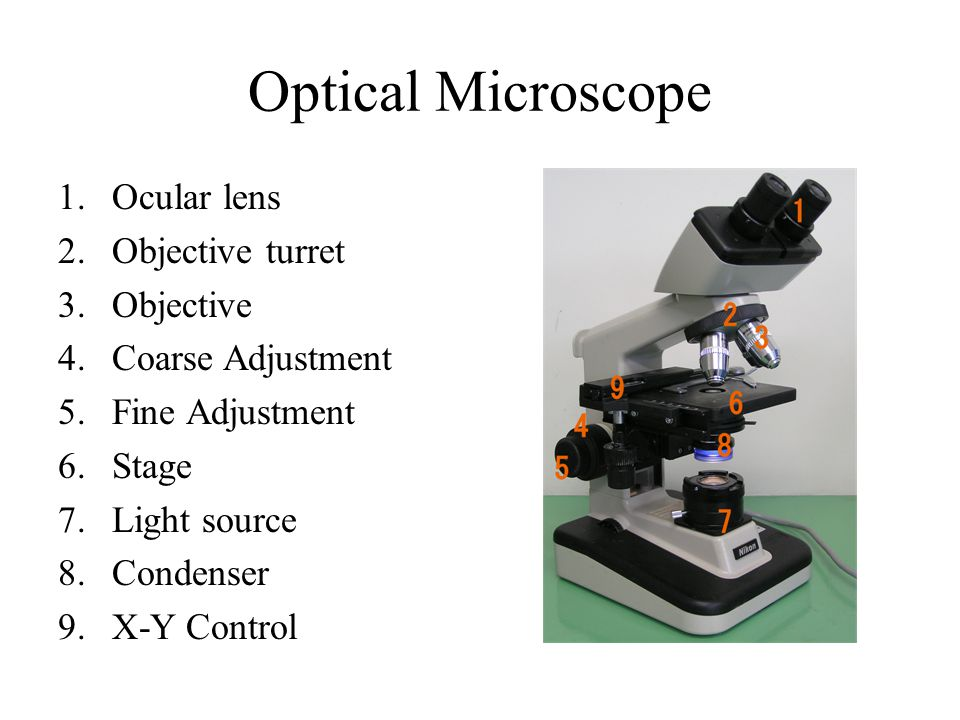 Optical Microscope 1.Ocular lens 2.Objective turret 3.Objective 4.Coarse Adjustment 5.Fine Adjustment 6.Stage 7.Light source 8.Condenser 9.X-Y Control
