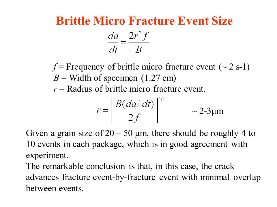 Brittle Micro Fracture Event Size f = Frequency of brittle micro fracture event (~ 2 s-1) B = Width of specimen (1.27 cm) r = Radius of brittle micro fracture event.