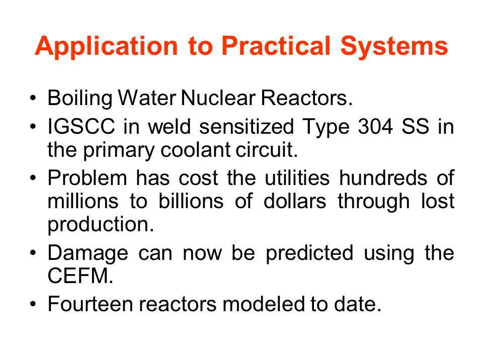 Application to Practical Systems Boiling Water Nuclear Reactors.