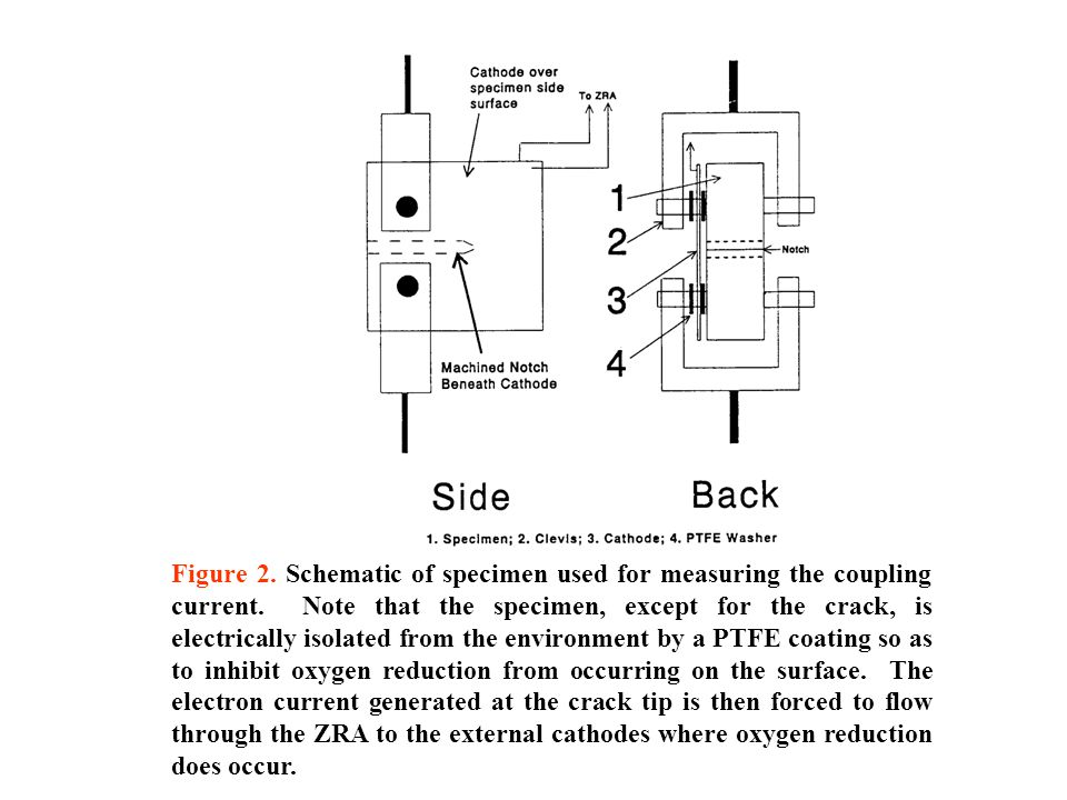 Figure 2. Schematic of specimen used for measuring the coupling current.