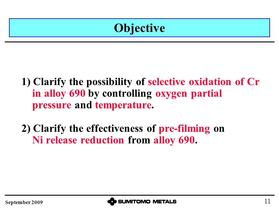 1) Clarify the possibility of selective oxidation of Cr in alloy 690 by controlling oxygen partial pressure and temperature. 2) Clarify the effectiven