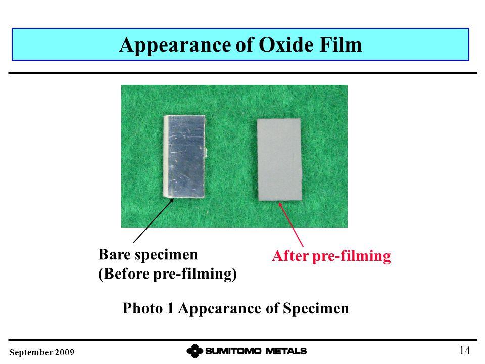 Appearance of Oxide Film After pre-filming Bare specimen (Before pre-filming) Photo 1 Appearance of Specimen September 2009 14