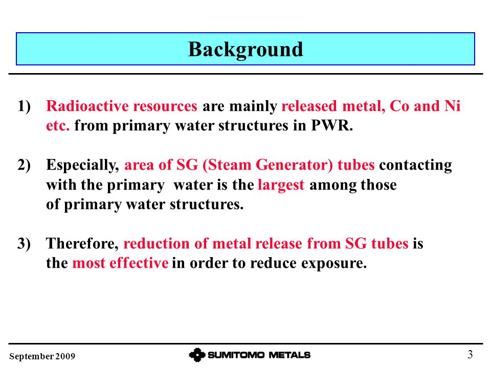 Ni Release from SG Tubes Reactor Core 58 Ni 58 Co Ni releases from SG tube to primary water.