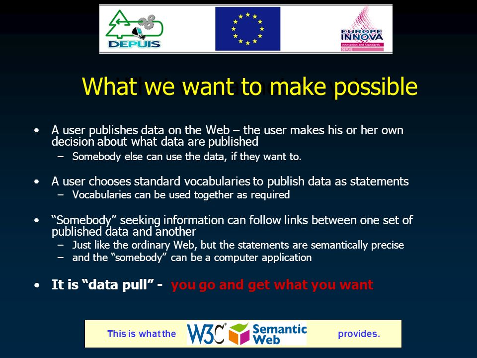 What we cannot do yet A user publishes data on the Web – the user makes his or her own decision about what data are published –Somebody else can use the data, if they want to.