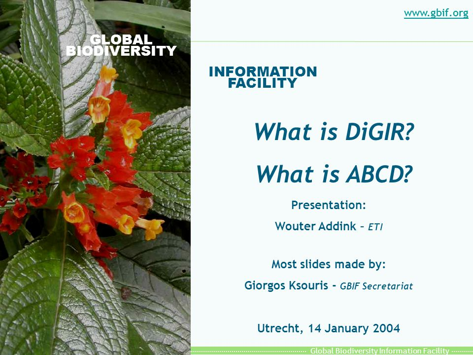 Global Biodiversity Information Facility DiGIR Provider: How it Works Resource WEB Server- DiGIR S/W Server Resource Provider Metadata Resource Metadata HTTP XML Metadata message Search/Inventory message