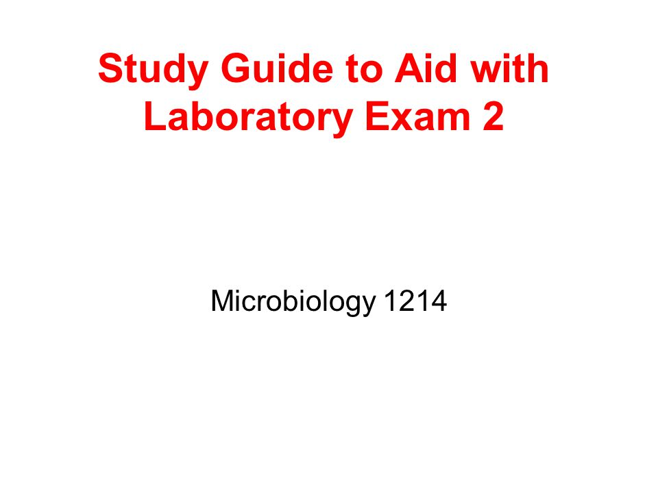 Study Guide to Aid with Laboratory Exam 2 Microbiology 1214