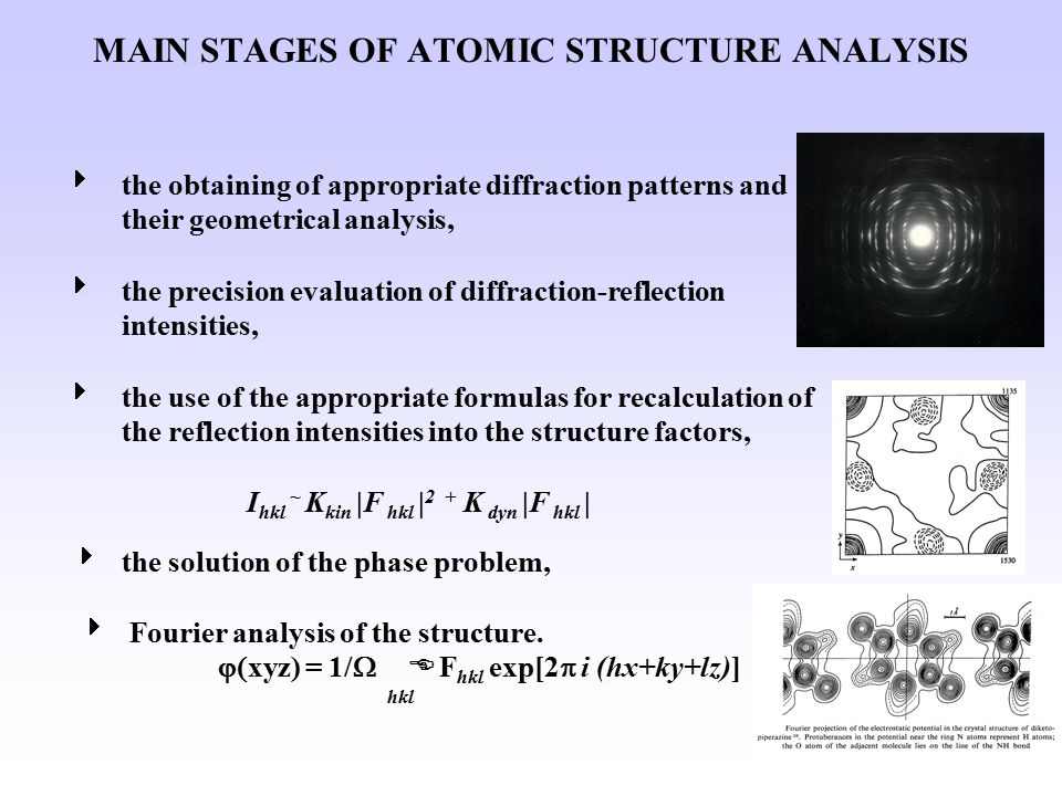 MAIN STAGES OF ATOMIC STRUCTURE ANALYSIS  the obtaining of appropriate diffraction patterns and their geometrical analysis,  the precision evaluation of diffraction-reflection intensities,  the use of the appropriate formulas for recalculation of the reflection intensities into the structure factors, I hkl ~ K kin |F hkl | 2 + K dyn |F hkl |  the solution of the phase problem,  Fourier analysis of the structure.