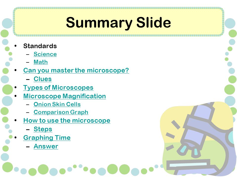 Summary Slide Standards –ScienceScience –MathMath Can you master the microscope.