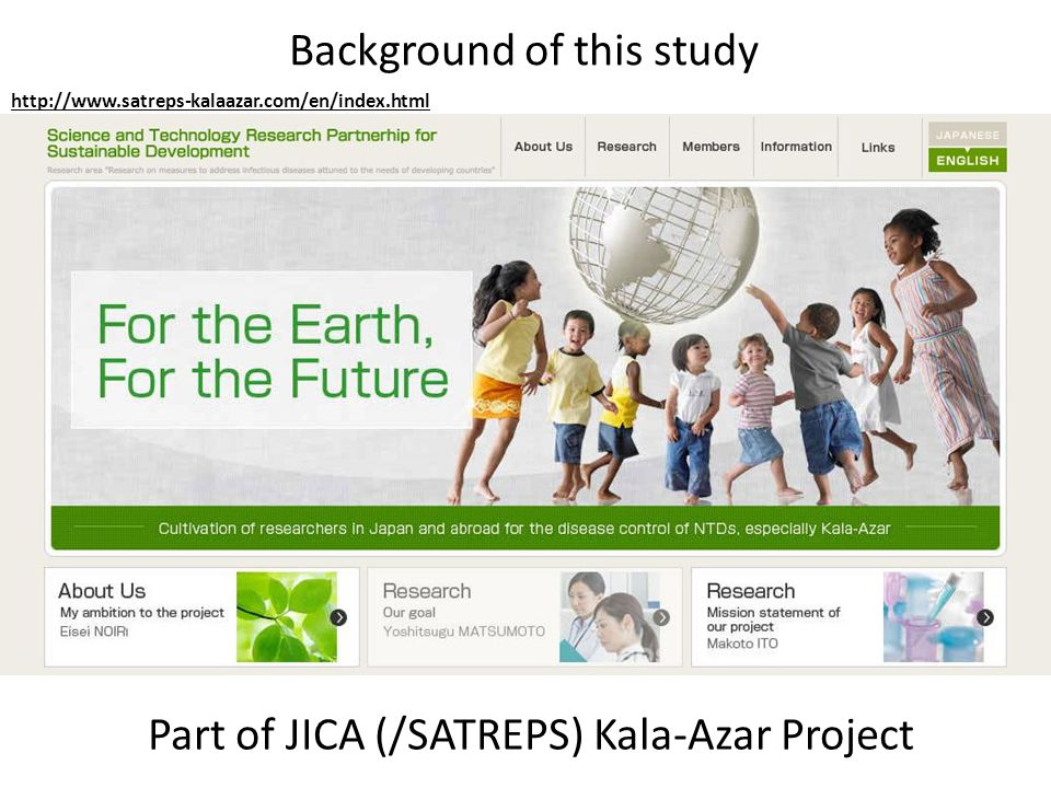 Background of this study Part of JICA (/SATREPS) Kala-Azar Project http://www.satreps-kalaazar.com/en/index.html