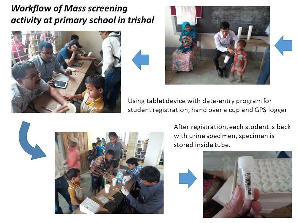 Workflow of Mass screening activity at primary school in trishal Using tablet device with data-entry program for student registration, hand over a cup