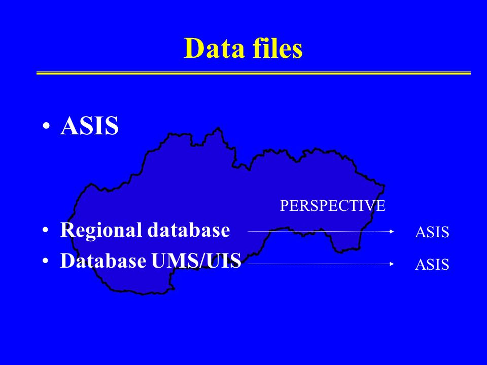 Data files ASIS Regional database Database UMS/UIS PERSPECTIVE ASIS