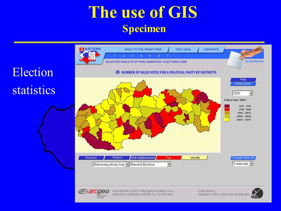 The use of GIS Specimen Election statistics
