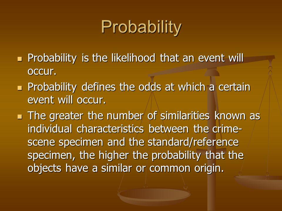 Probability Probability is the likelihood that an event will occur. Probability is the likelihood that an event will occur. Probability defines the od