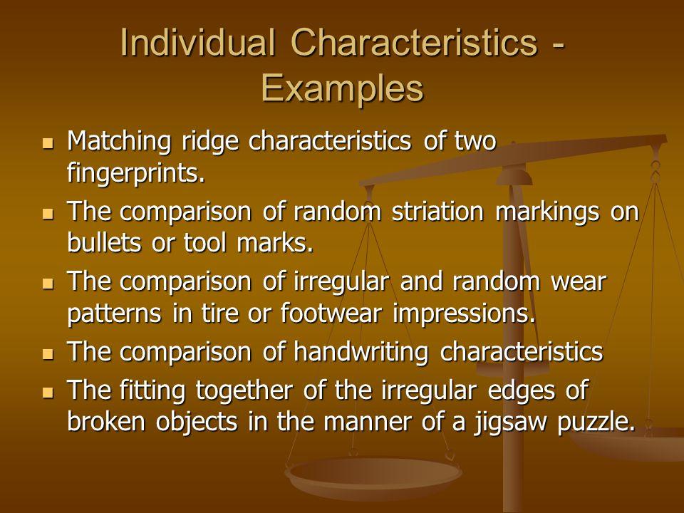 Individual Characteristics - Examples Matching ridge characteristics of two fingerprints. Matching ridge characteristics of two fingerprints. The comp
