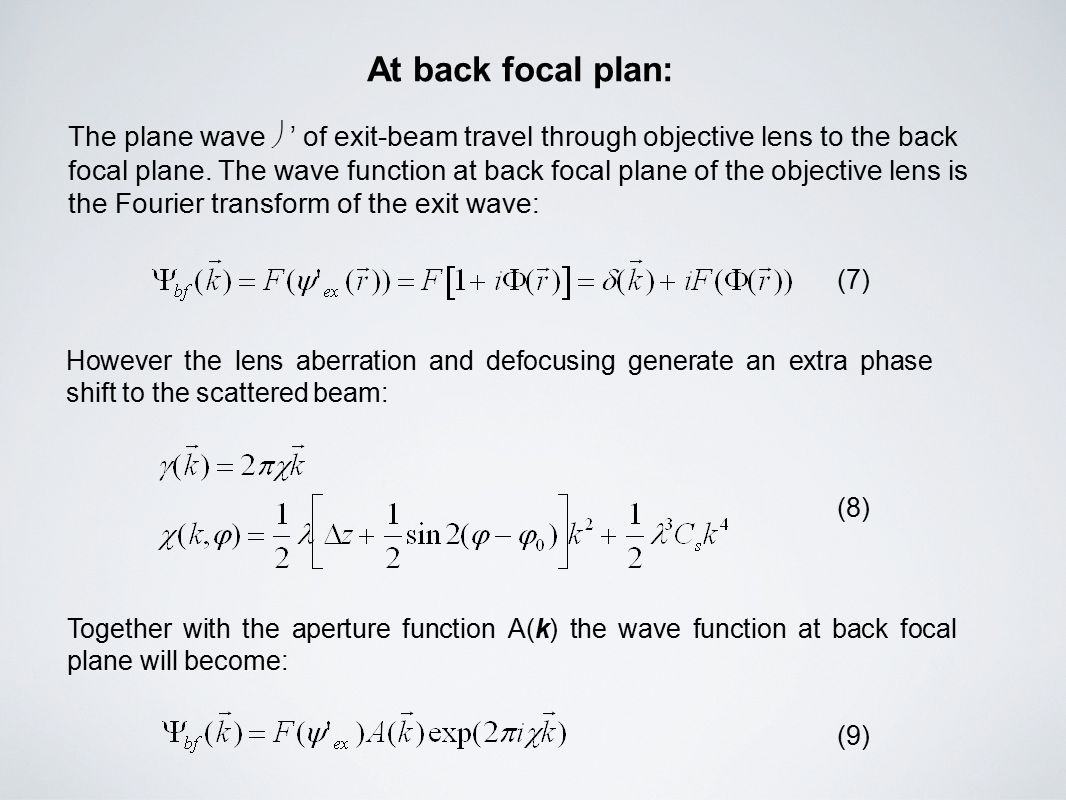 At back focal plan: The plane wave  ' of exit-beam travel through objective lens to the back focal plane.