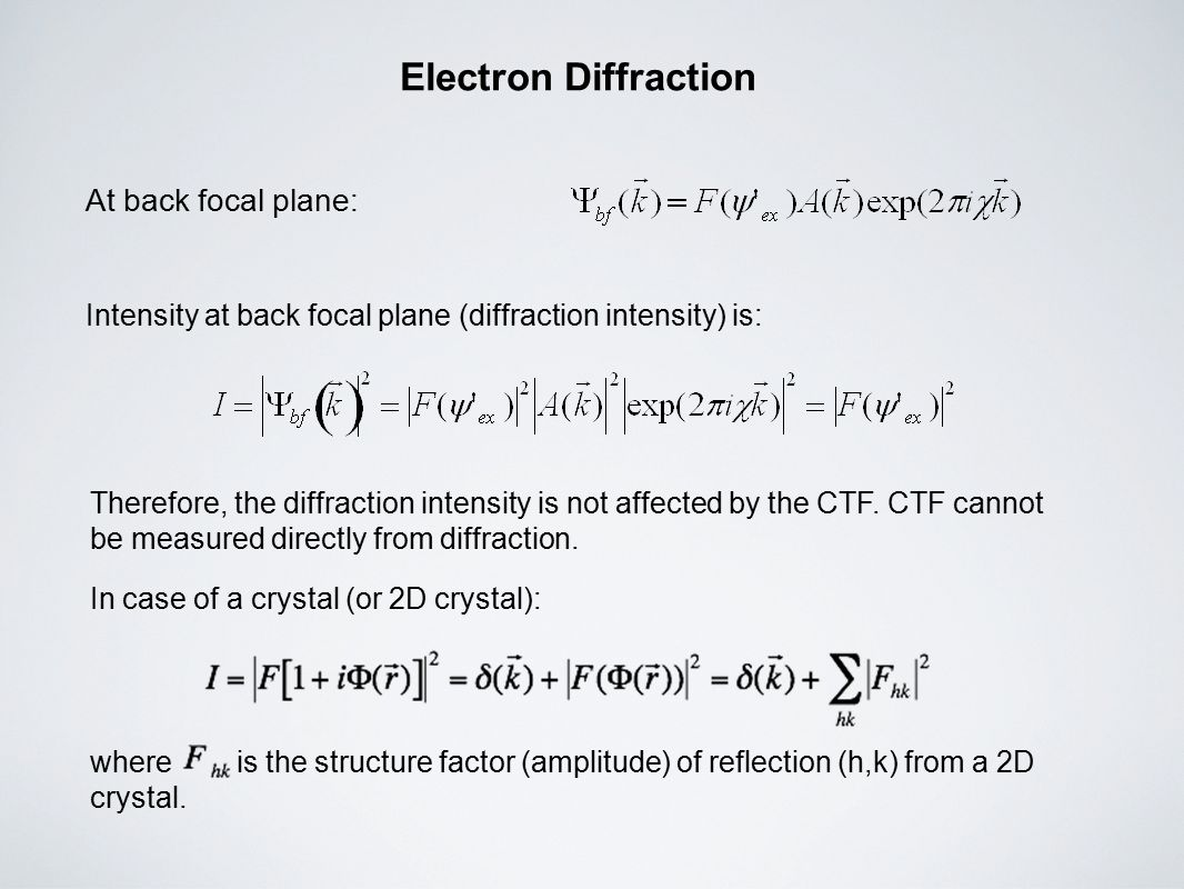 Electron Diffraction At back focal plane: Intensity at back focal plane (diffraction intensity) is: Therefore, the diffraction intensity is not affected by the CTF.