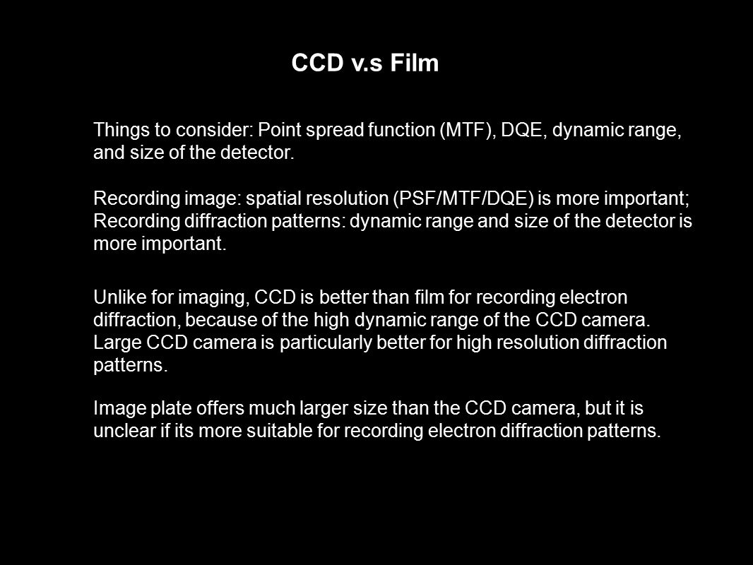 Unlike for imaging, CCD is better than film for recording electron diffraction, because of the high dynamic range of the CCD camera. Large CCD camera