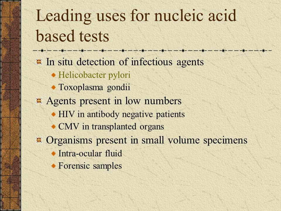 Leading uses for nucleic acid based tests In situ detection of infectious agents Helicobacter pylori Toxoplasma gondii Agents present in low numbers H